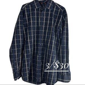 Tommy Hilfiger Blue Plaid Button-Front Shirt L